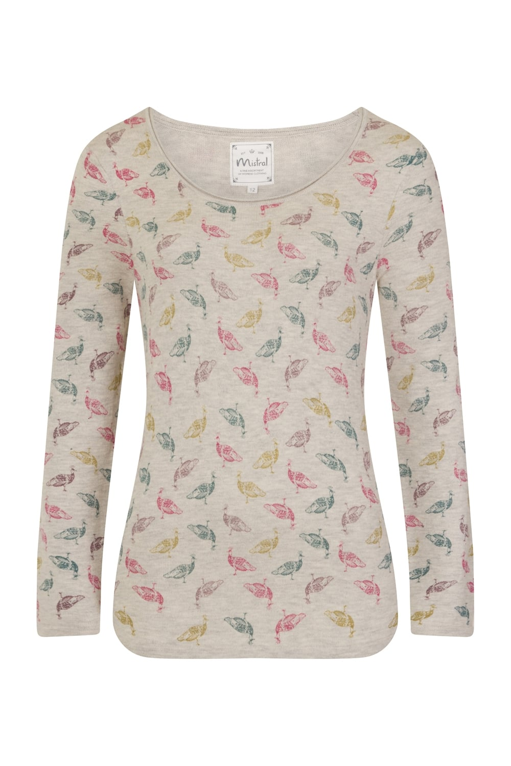 pretty peahen jumper, fine knit jumper with multicoloured peahen print, beautiful autumnal jumper