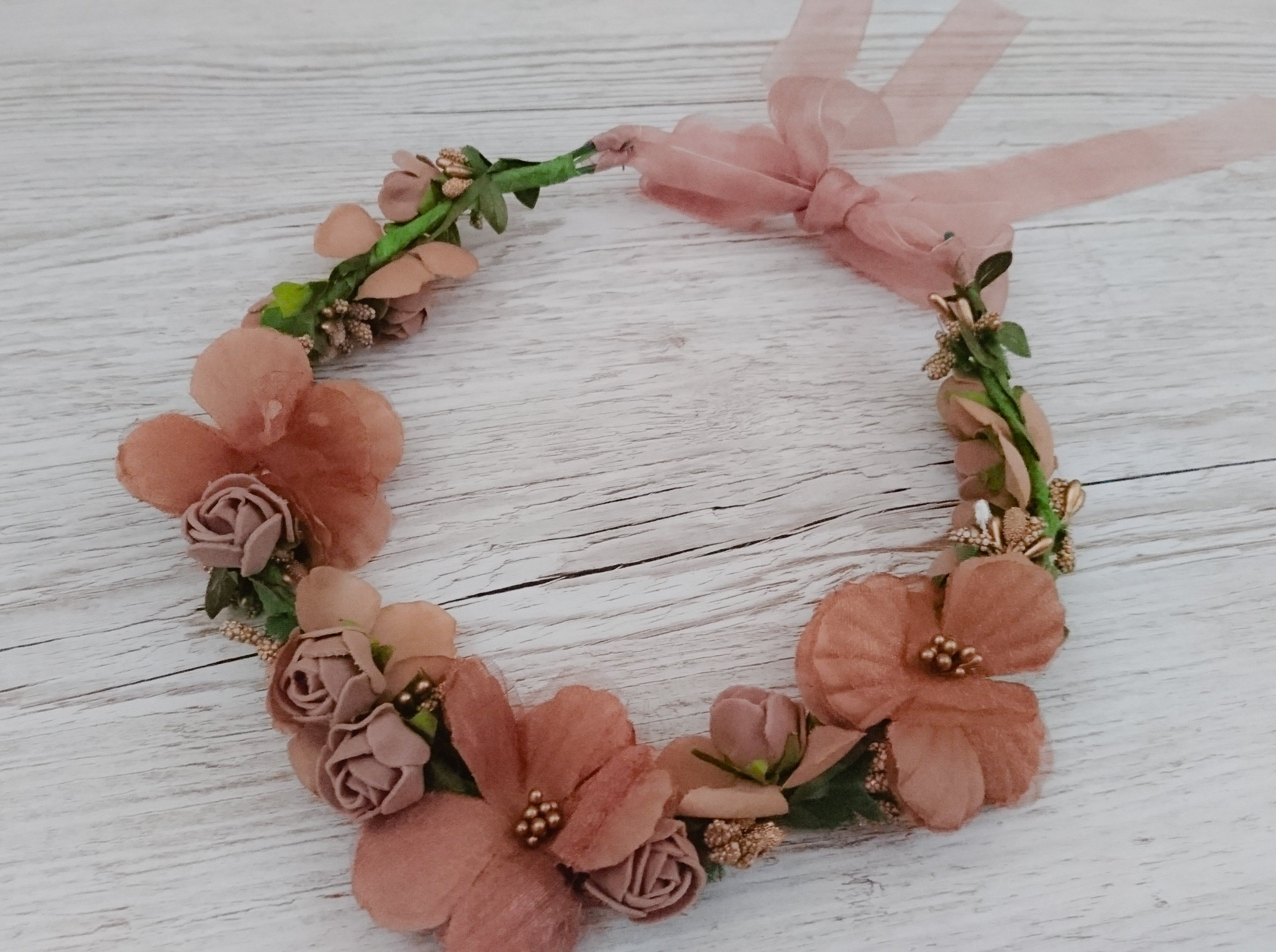 peach and gold autumnal floral crown for bridesmaids