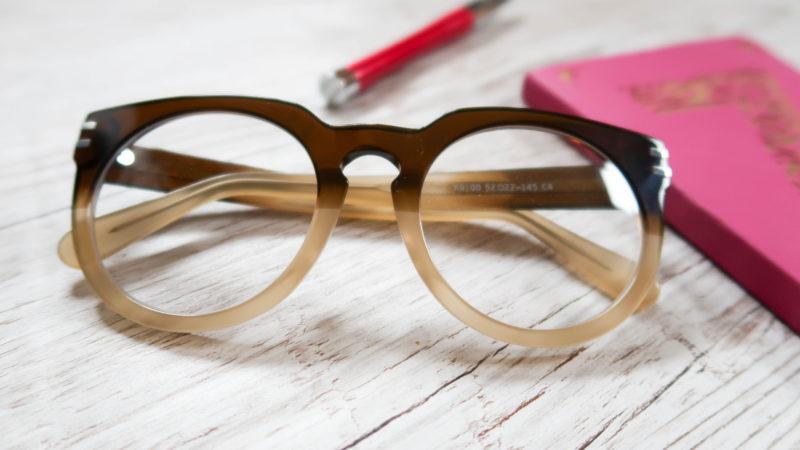 hipster glasses, oversized men's style frame, brown ombre plastic eyeglasses frames