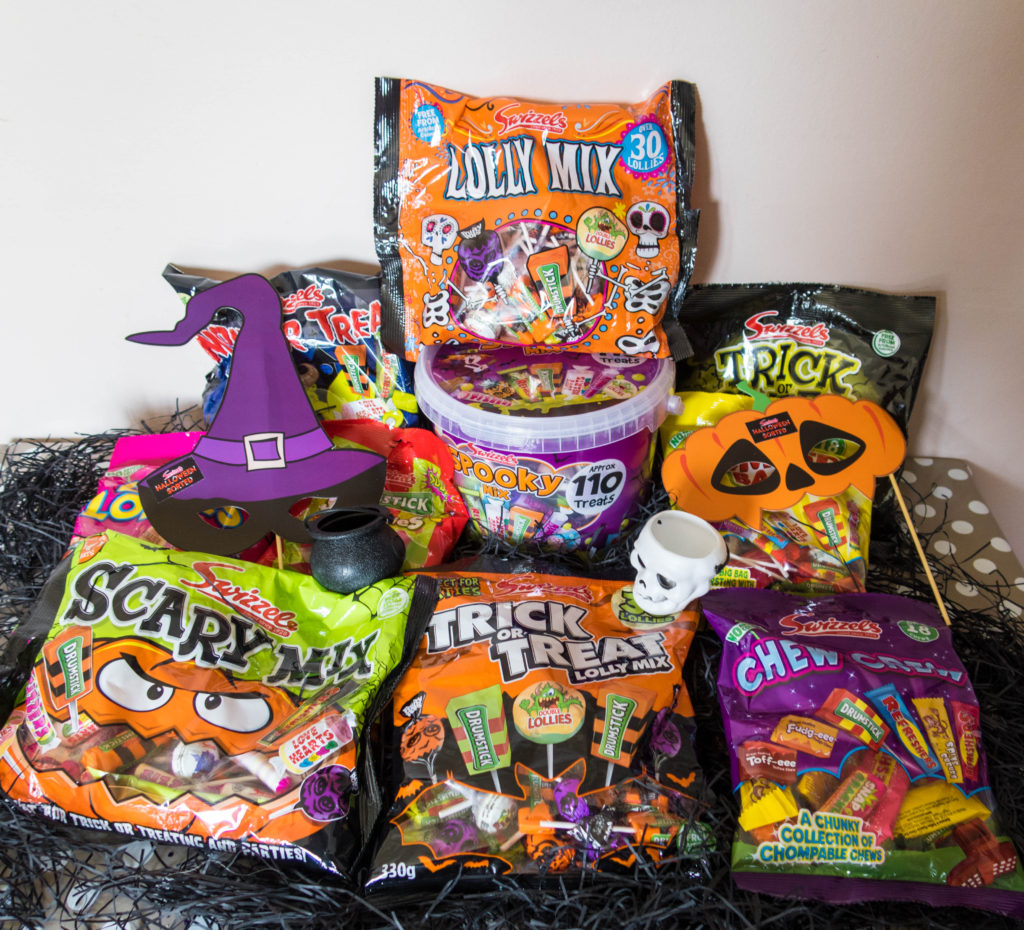 Halloweensorted sweets and photo prop hamper