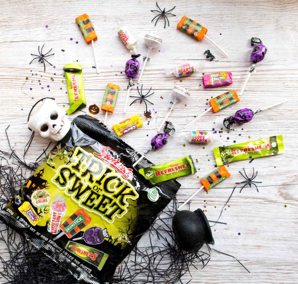 Swizzels trick or sweet packet laid out for Halloweensorted