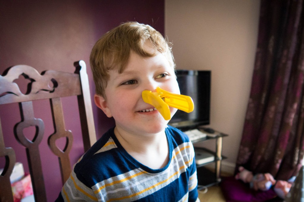 Wally the washer yellow peg on my son's nose