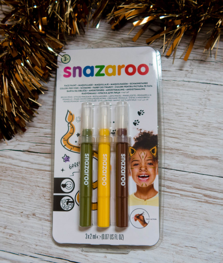 Snazaroo face paint pens in green, yellow and brown