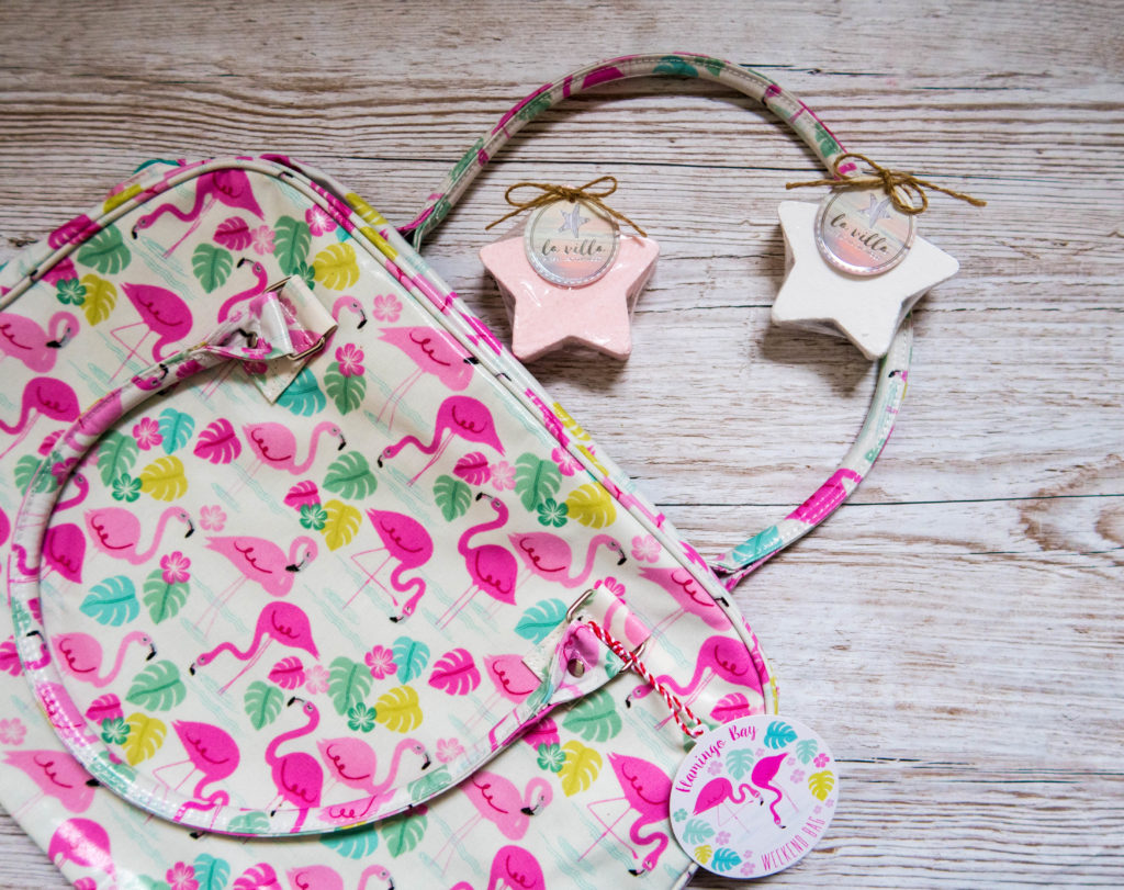Pink Flamingo Bag with two star shaped bath fizzers for decoration as part of the Tween Girls' Gift Guide - Gift Ideas for Girls Aged 8-12