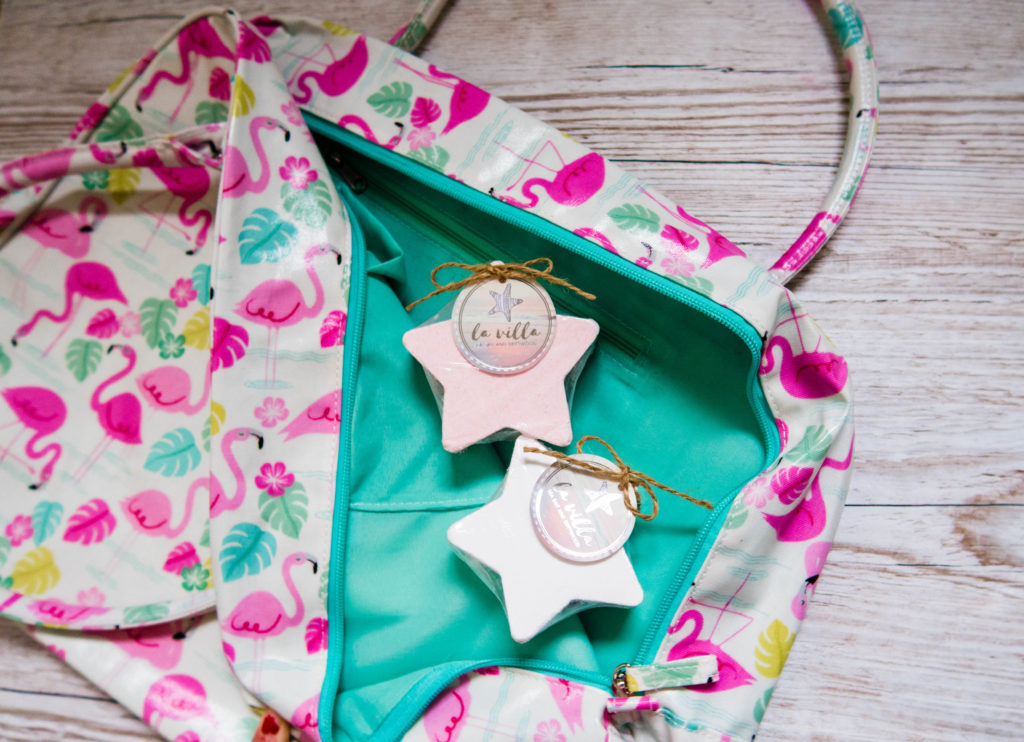 Inside the flamingo bag is a contrasting turquoise lining for the Tween Girls' Gift Guide - Gift Ideas for Girls Aged 8-12