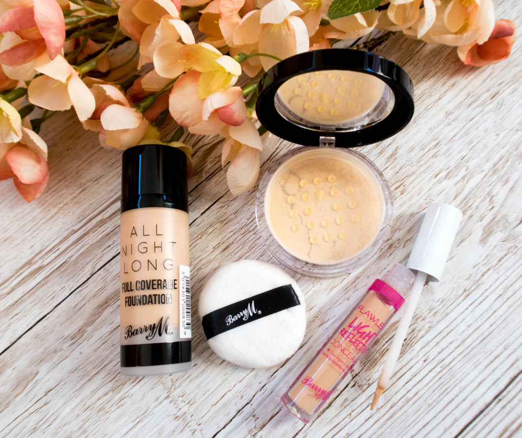 Barry M All Night Long Full Coverage Foundation, ready set smooth banana powder and flawless light reflecting concealer