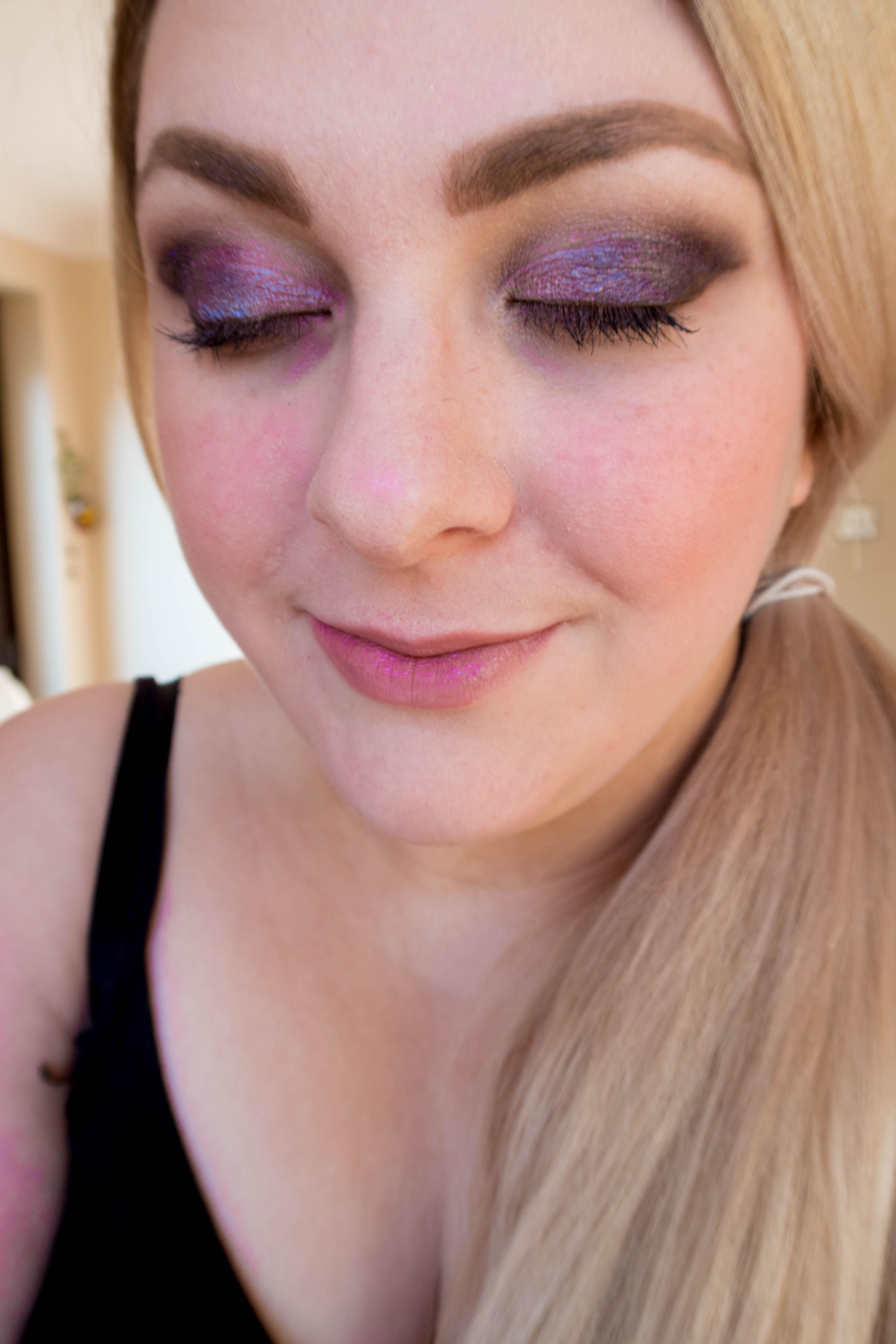 Barry M crushed jewel cream eyeshadow in a purple smokey eye look