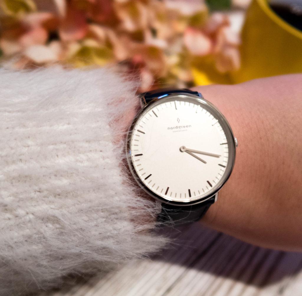 Nordgreen Native minimalist ladies watch close up on my wrist