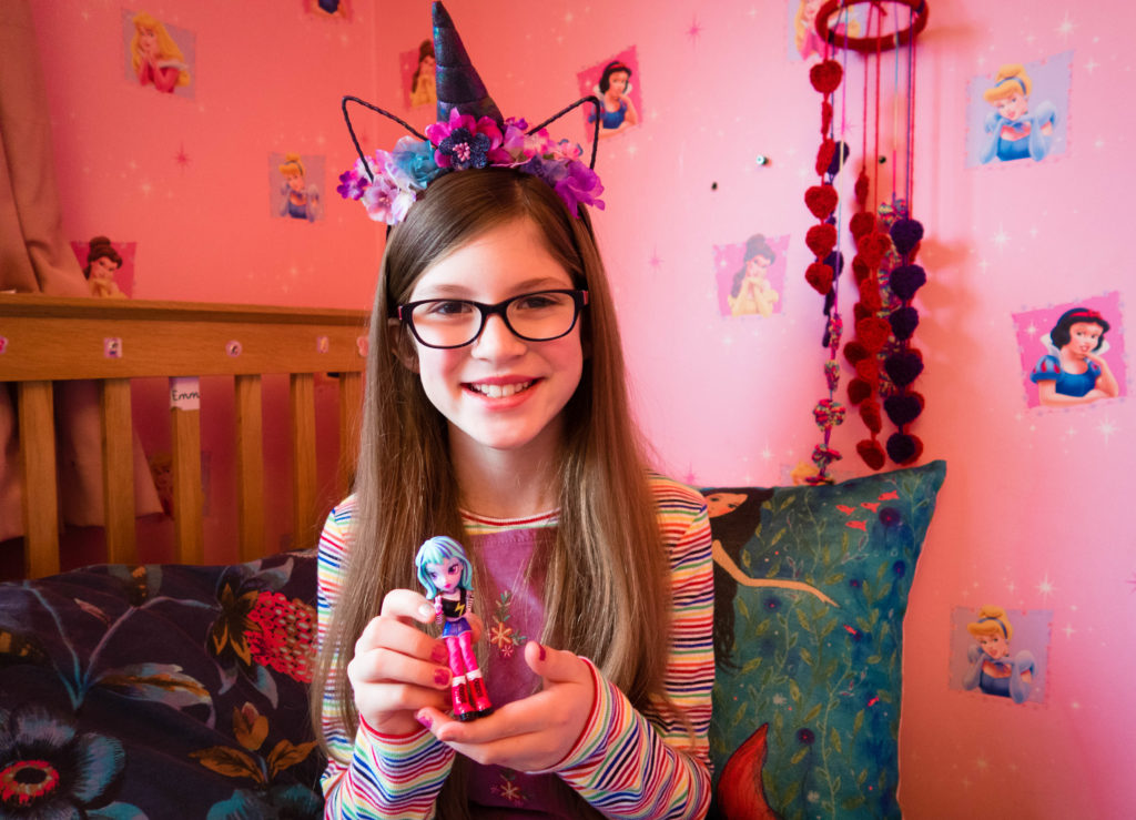 Off the Hook Style Doll as held by Emma (my daughter) who is wearing a unicorn horn