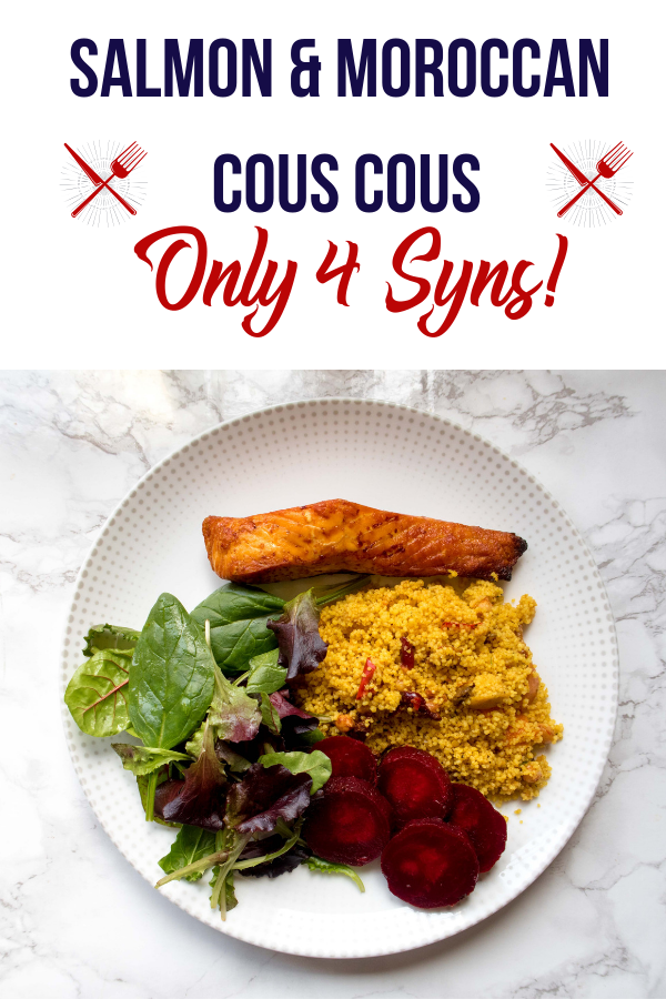 Slimming world dinner suggestions: baked salmon and Moroccan inspired cous cous recipe! A great meal for only 4 syns. Save this Slimming World cous cous recipe!