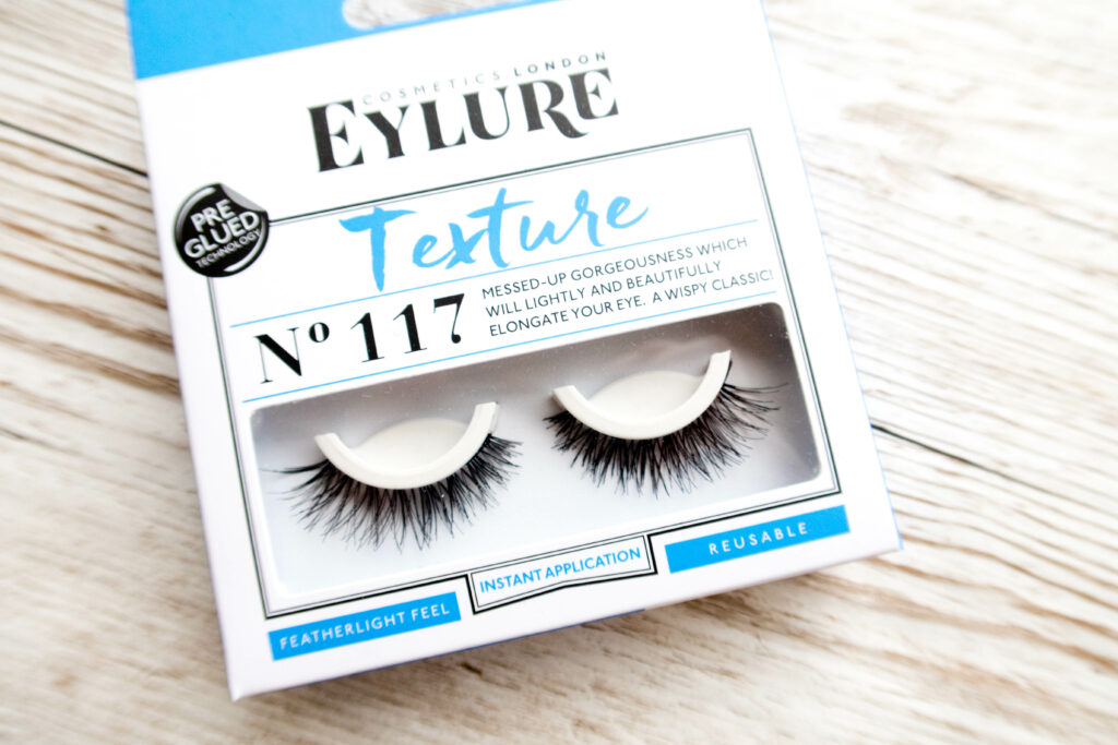 Eylure false lashes, Texture no. 117, in the packed. A thin, wispy set of lashes