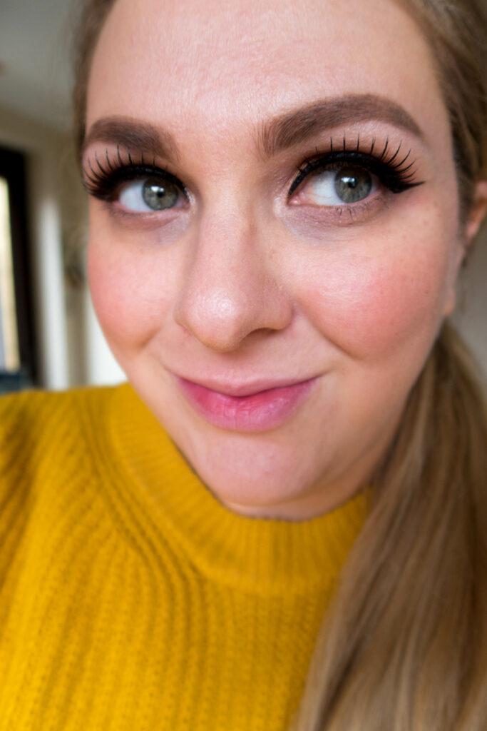 Eylure definition being worn with mustard eye makeup