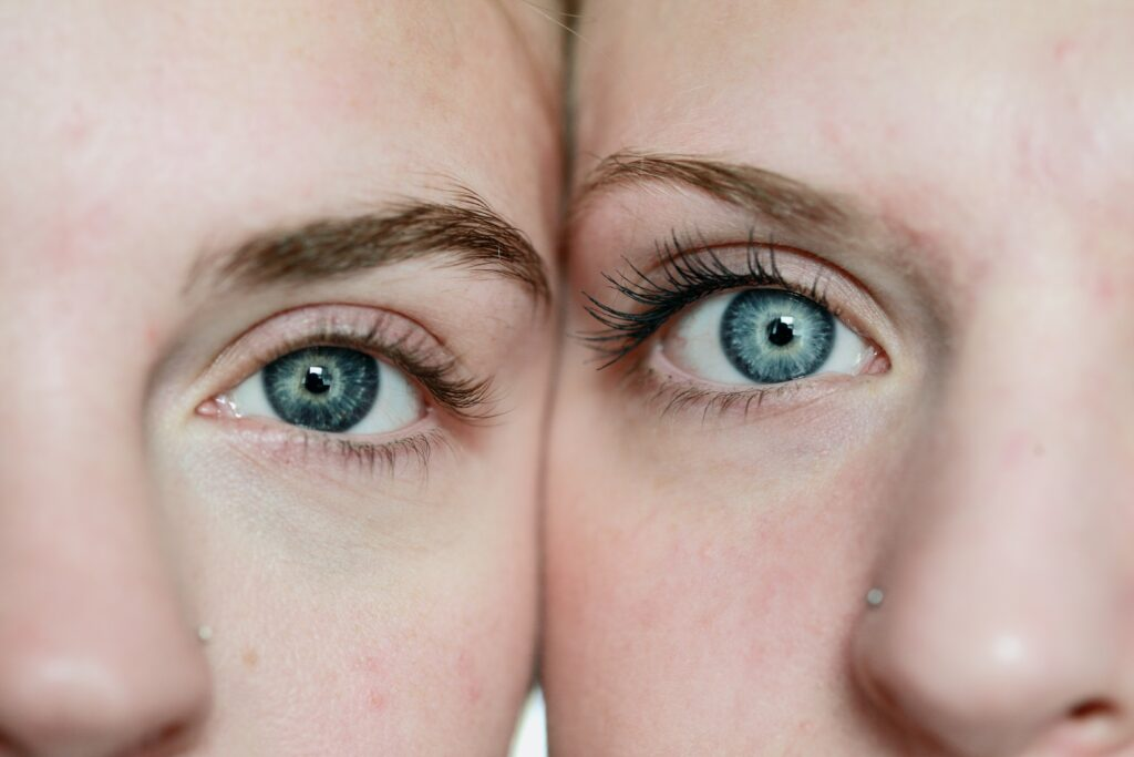 CBD Oil can be used for skincare. Picture of partial views of two women's faces