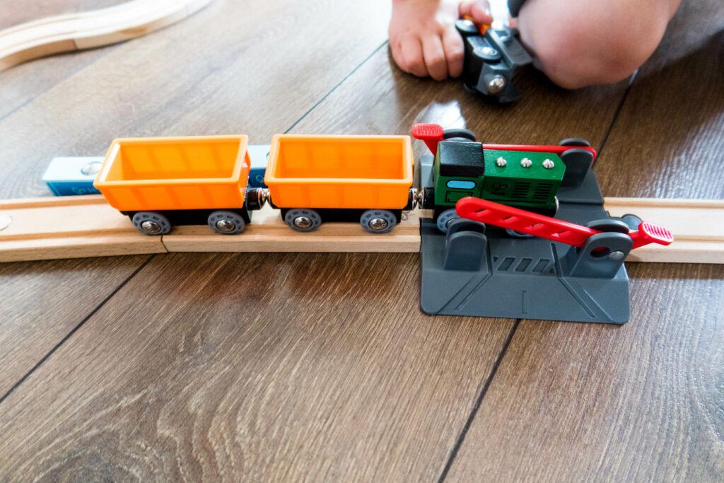 Hape wooden train set crossing