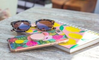 Sunglasses, case, notepad
