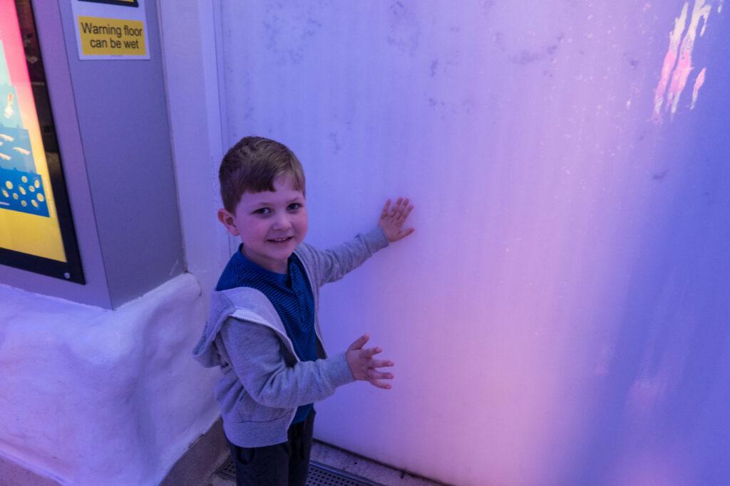 Greg enjoying the ice wall