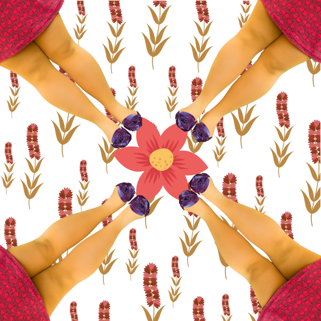 Mustard colour snag tights in 4 corners of picture arranged like a kaleidoscope with a flower in the middle of the picture and autumnal illustrated flowers in the background