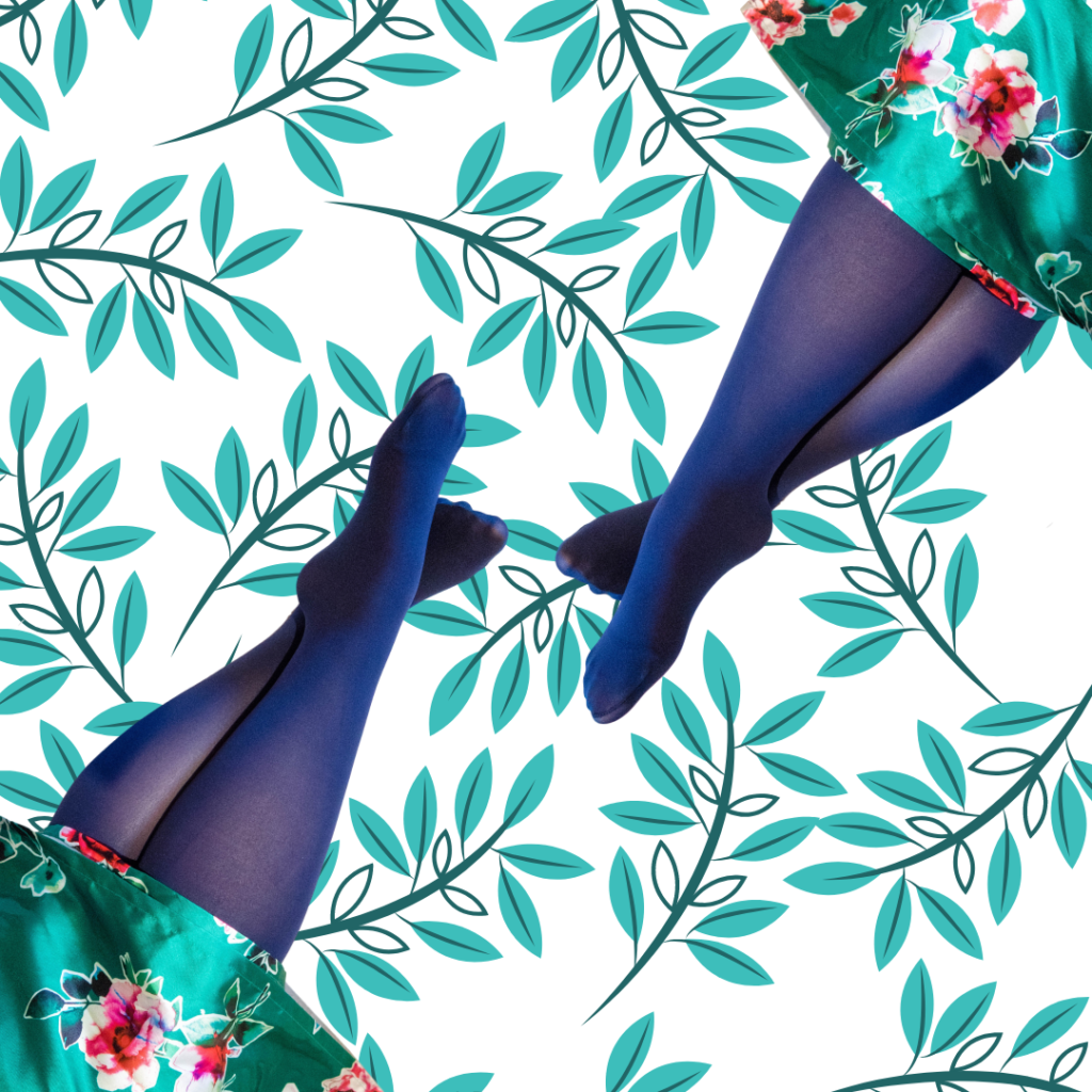 Navy snag tights with illustrated green leafy background